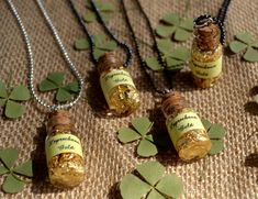 St. Patricks Day Craft: Wee Bottle of Leprechaun Gold Necklace DIY.  It's real gold (leaf), and each necklace costs less than 5-dollars to make, so you won't have to accost any Leprechauns in the process.