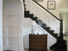 black stringers, handrail and newel post