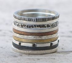 Skinny stacking sterling silver rings set of 7 - choose any 7 from hammered, oxidized and polished silver bands, Mixed stackable rings