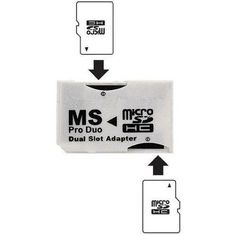 Memory Stick Pro Duo Adapter Dual Slot Micro SD SDHC Converter Reader White PSP #ConsumerElectronics