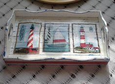 Yazlığa yapılan bir tepsi daha:))   Ev, ablamın evi, derken yazlığı da doldurmaya karar verdim.     Bu tepsiyi sabah kahvelerimiz için yapt... Wood Crafts, Diy And Crafts, Stencil, Decoupage Wood, Paisley Art, Create And Craft, Mosaic Wall, Shabby Vintage, Diy Projects To Try