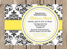 Bridal Shower Printable Invitation - Black and White Damask, Red, Yellow, Hot Pink, Blue, Purple - 065 on Etsy, $15.00