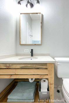 Diy Bathroom Reno, Easy Bathroom Updates, Bathroom Renos, Budget Bathroom, Simple Bathroom, Bathroom Renovations, Master Bathroom, Diy Concrete Vanity Top, Do It Yourself Bathrooms