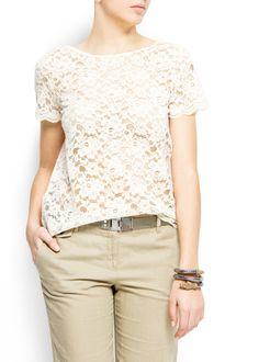 MANGO - CLOTHING - Laced t-shirt