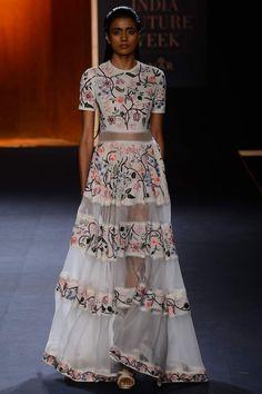 RAHUL MISHRA Ivory hand embroidered chintz panelled dress