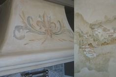 Tuscan Kitchen mural by Allison Cosmos with painted fleur de lis on  kitchen hood