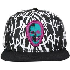 DC Comics Suicide Squad The Joker Snapback Hat Hot Topic ($15) ❤ liked on Polyvore featuring accessories, hats, pattern hats, flat bill hats, print hats, flat bill snapback hats and logo snapback hats