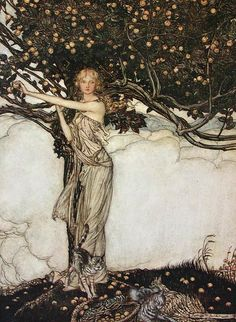 """Freia, the fair one"" (modified) by Arthur Rackham    Illustration from 'The Rhinegold and the Valkyrie' 1910    Arthur Rackham  Watercolor, pen & ink  [English Golden Age Illustrator, 1867-1939]"