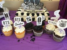 Bts white purple and black birthday party Bts Happy Birthday, Birthday Cakes For Teens, 18th Birthday Party, Birthday Party Themes, Birthday Recipes, Bithday Cake, Cake Birthday, Bts Cake, Teen Cakes