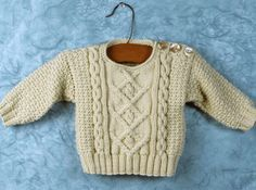 Free Knitting Pattern - Baby Sweaters: Poonam - Baby Aran Sweater - sized to 9 mths. Free Baby Sweater Knitting Patterns, Knit Baby Sweaters, Aran Sweaters, Knitting For Kids, Baby Patterns, Free Knitting, Aran Jumper, Jumper Patterns, Cable Sweater