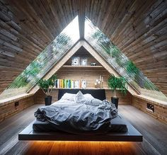 Zimmereinrichtung - If we have a loft, this is a pretty cool design. We'd also have to take into. Tiny House Cabin, Tiny House Living, Tiny House Design, Modern Tiny House, Cabin Design, Cabins In The Woods, House In The Woods, A Frame House Plans, Forest House