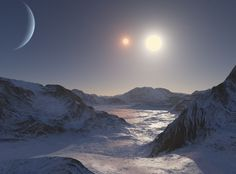What would it look like on a hypothetical icy moon orbiting the exoplanet Kepler Kepler is a Neptune-sized exoplanet orbiting a binary star pair light-years away. Edge Of The Universe, Universe Art, Sistema Solar, Cosmos, Science Images, 70s Sci Fi Art, Sun Photo, Alien Worlds, Science Fiction Art