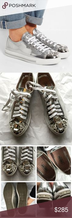 SOLD[miu miu] jeweled cap toe silver sneakers STILL RETAILS ONLINE FOR $775 + TAX; GOT FOR XMAS. Insanely breathtaking showstopper shoes by miu miu. Received for Xmas and wore 2-3x but they're too small for me. You can bar lace them or tie them regularly. Minimal wear, nothing very noticeable as seen in pics. No box, threw it out already :( SO BEAUTIFUL GREAT PRICE/DEAL, just want some funds so I can replace with a bigger size. Honestly such a collector's item. Miu Miu Shoes Sneakers