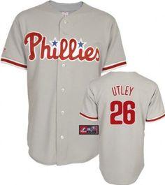MLB Philadelphia Phillies Chase Utley Road Gray Short Sleeve 6 Button Synthetic Replica Baseball Jersey Spring 2012 Men's --- http://www.pinterest.com.itshot.me/47r