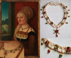 """""""cheapside hoard ~ Painting by Bernhard Strigel, early 16th century, Germany. Necklace by evajohannastudios.com"""" Not from the Cheapside hoard. As the site explains, it's a modern replica of the necklace in Strigel's painting."""