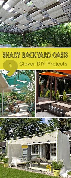 9 Clever DIY Ways for a Shady Backyard Oasis Ideas tutorials and some creative ways to bring shade to your backyard! 9 Clever DIY Ways fo Backyard Shade, Backyard Patio, Backyard Landscaping, Shade Ideas For Backyard, Landscaping Ideas, Diy Patio, Deck Shade, Backyard Kitchen, Backyard Privacy