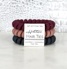 Hotline Hair Ties are ouchless, creaseless, and adorable! Truly feels like there is nothing holding your hair at all. Scrunchies, Creaseless Hair Ties, Coil Hair Ties, Velvet Matte, Red Velvet, Hair Supplies, Accesorios Casual, Tie Set, Headband Hairstyles