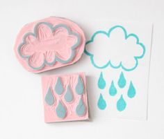 Cloud With A Chance Of Raindrops Hand Carved by hugfishandorange, $5.25