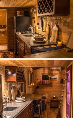 This tiny house has a nicely equipped kitchen with a two-burner stove and apartment-size refrigerator.