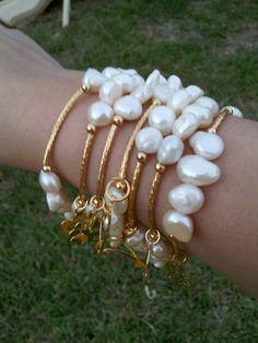 . Bead Jewellery, Pearl Jewelry, Wire Jewelry, Jewelry Crafts, Beaded Jewelry, Jewelry Bracelets, Jewelery, Jewelry Accessories, Jewelry Design