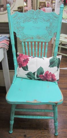 Shabby Cream Vintage Chair Pressed Back Spindles by rosesnmygarden