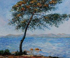 Cap d' Antibes Waterside Scenes Painting Reproduction on Canvas Monet Paintings, Impressionist Paintings, Claude Monet, Joy Art, Watercolor Trees, Oil Painting Reproductions, French Artists, Pastel, Illustrations