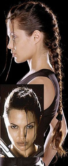 Angelina Jolie's Lara Croft hair. Prefer the two bangs on a single side though. One on each side doesn't look as good.