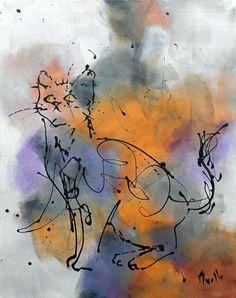 """Tableau  """"Le chat """" de la boutique TableauxAxelleBosler sur Etsy"""