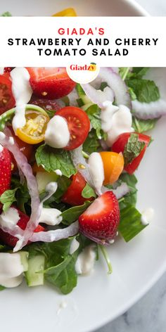 The ultimate seasonal salad is here! In summer, I love the combination of strawberries and cherry tomatoes together. This light salad is a great way to showcase both of them, with a creamy mascarpone dressing, fresh herbs, cucumber and arugula. Cherry Tomato Salad, Cherry Tomatoes, Fruit Salads, Healthy Salads, Strawberry Vinegar, Clean Eating Plans, Sicilian Recipes, Fresh Mint Leaves, Jam Recipes