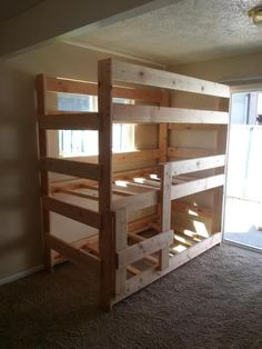 simple triple bunk bed plans. - Ladder at end.  - short ladder at side.