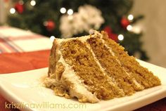 BEST Cake for Holiday Entertaining ~ Maple Glazed Pumpkin Spice Layer Cake with Maple Frosting. (post has step by step guide to icing a layer cake) by Krisztina Williams / http://krisztinawilliams.com