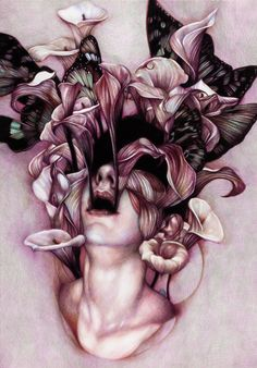 """Euphoria"" - Marco Mazzoni, 2012, colored pencils on paper {contemporary abstract surreal flowers female head woman face portrait flowers illustration #noveltechnique} Growth !!  another nature element i'd like to incorporate into my work"