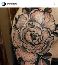 Japanese blackwork dotwork pontilism peony flower man shoulder tattoo by Amy Williams Tattoo