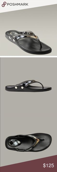 Burberry black rubber flip flops Old style. Smoke/Pet free. Super cute for the pool/beach. Signs of wear mostly on sole and bottom of shoe. Pictured. True to size. Logo-embossed studs on the side. Signature print. Rubber. Made in Italy. Salon Shoes. 100% authentic. Burberry Shoes Sandals