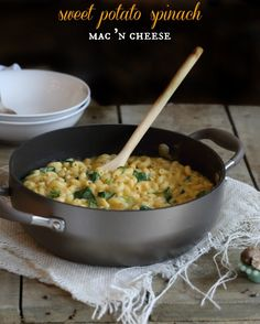 Sweet potato spinach mac and cheese text optimized