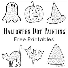 These Halloween Dot Painting worksheets are a fun mess free painting activity for young kids that work on hand-eye coordination and fine motor skills. Painting Activities, Autumn Activities, Halloween Activities For Toddlers, Playgroup Activities, Halloween Kids, Halloween Themes, Halloween Crafts, Preschool Halloween, Halloween Painting