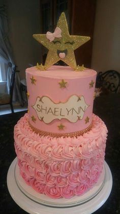 Twinkle Little Star Yellow Cake Covered In Butter Cream And Gum Paste Accents
