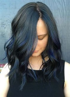 Blue Denim Hair Colors: Black & Blue Balayage