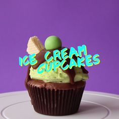 Too cold for ice cream? These are for you. Mint Chocolate chip ice cream cupcakes!