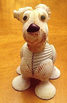 Natural Seashell Dog Sculpture Original Handmade Animal Figurine Sea Shell Art