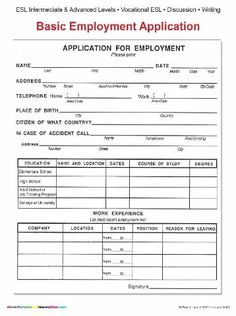 Job Application Form - Free PDF Employment Download