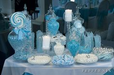 So pretty! Love the blue and white candy bar!