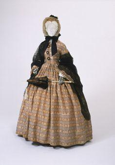 Dress: ca. 1860, American, warp-printed silk taffeta.