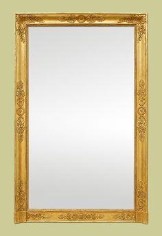 Miroir rectangulaire à cadre doré, miroir ancien, miroir vintage ...