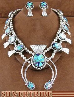 Native American Navajo Turquoise Multicolor Sterling Silver Squash Blossom Necklace And Earrings Set