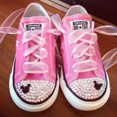 Low Top Bling Converse Minnie Mouse by Munchkenzz on Etsy https://www.etsy.com/listing/161935815/low-top-bling-converse-minnie-mouse