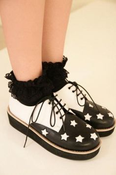 Star Printing Lace Up Women Flatforms on BuyTrends.com, only price $24.59