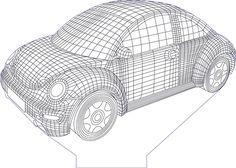 3D illusion car premium vector drawing