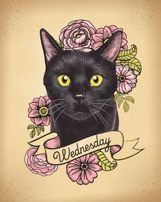 cat tattoo art by Kudzu Monster — Custom Pet portraits from KudzuMonster.etsy.com
