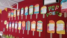 Popsicle Poems about Summer Classroom Displays, Classroom Ideas, Summer Poems, Literacy, Poetry, Party Ideas, English, Songs, English English